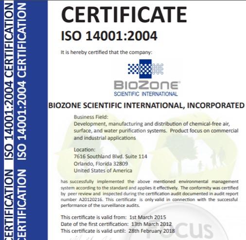 chứng nhận iso biozone
