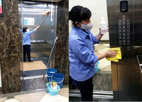 khử khuẩn thang máy bằng hóa chất